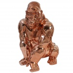 Deko Figur Gorilla 40cm, Polyresin Skulptur, In-/Outdoor kupfer