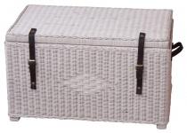 Wäschetruhe H119, Aufbewahrungstruhe Sitzbank Sitztruhe, Rattan, handgeflochten weiß