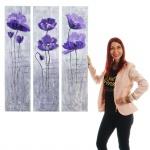 Ölgemälde Lila Blumen, 100% handgemaltes Wandbild XL, 120x90cm