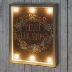 LED-Bulb Bild Leuchtbild, Shabby-Look Vintage 40x30cm, Merry Christmas