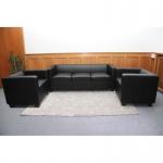 3-1-1 Sofagarnitur Couchgarnitur, Leder schwarz