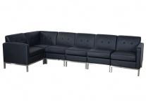 5er Sofagarnitur HWC-C19, Modular-Sofa Loungesofa, erweiterbar Kunstleder schwarz