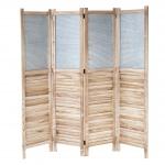 Paravent HWC-D27, Raumteiler Trennwand spanische Wand Sichtschutz, Holz Metall 170x160x2cm
