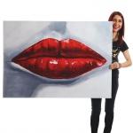 Ölgemälde Lippen, 100% handgemaltes Wandbild Gemälde XL, 120x85cm