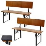 2x Bank Lustenau, Festzelttisch inkl. Sitz- und Rückenkissen, klappbar mit Rückenlehne 115cm