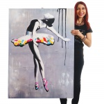 Ölgemälde Ballett, 100% handgemaltes Wandbild XL, 120x85cm