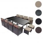 Poly-Rattan Garten-Garnitur Kreta, Lounge-Set Sitzgruppe 12 Sitzplätze braun, Kissen beige