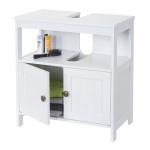 Waschbeckenunterschrank HWC-B63, Badschrank Badezimmer Unterschrank Waschtischunterschrank, 60x60x30cm weiß