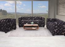 3-2-1 Sofagarnitur Couchgarnitur Loungesofa Lille, Textil grau/schwarz