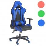 Profi-Bürostuhl HWC-T682 XXL, Drehstuhl, Gaming 150kg belastbar Kunstleder blau