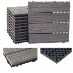 WPC Bodenfliese HWC-E19, Holzoptik Balkon/Terrasse, 3D-Struktur linear antik-braun