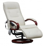 Relaxliege ARLES II Relaxsessel MIT Massage, Massagesessel Leder, creme