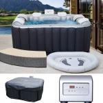 Whirlpool MSpa HWC-A62, 4+2 Personen In-/Outdoor heizbar aufblasbar 185x185cm FI-Schalter + Zubehör