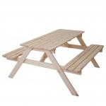 Biergarten-Garnitur Narvik, Picknick-Set, Holz Gastroqualität massiv 148x150cm