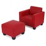 Modular Sessel Loungesessel mit Ottomane Lyon, Kunstleder rot