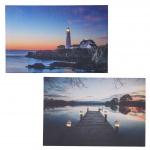 2x LED-Bild, Leinwandbild Leuchtbild Wandbild 60x40cm, Timer Lighthouse