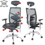Bürostuhl MERRYFAIR Trek, Schreibtischstuhl, Leder-/Netzkombination ISO9001 130kg belastbar schwarz