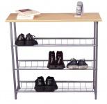 Schuhregal H82, Schuhablage Schuhständer, 3 Ablagefächer, 81x86x28cm