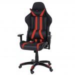 Bürostuhl T414 XXL, Drehstuhl, 150kg belastbar Kunstleder schwarz/rot