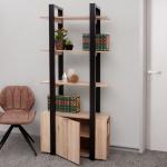Bücherregal HWC-B50, Standregal Wohnregal, 3D-Struktur 180x80x36cm