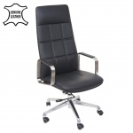 Bürostuhl HWC-A57, Schreibtischstuhl Drehstuhl, Voll-Leder Edelstahl ISO9001 schwarz