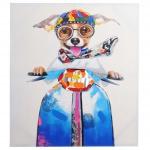 Ölgemälde Hund, 100% handgemaltes Wandbild XL, 100x90cm