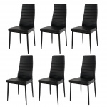 6x Esszimmerstuhl Lixa, Stuhl Lehnstuhl, Kunstleder schwarz