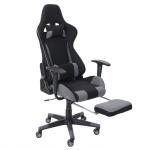 Relax-Bürostuhl HWC-D25 XXL, Schreibtischstuhl Gamingstuhl, 150kg belastbar Fußstütze Stoff/Textil schwarz/grau
