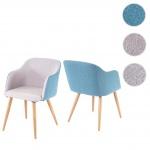 2x Esszimmerstuhl HWC-D71, Stuhl Lehnstuhl, Retro Design, Armlehnen Stoff/Textil