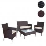 2-1-1 Poly-Rattan Garten-Garnitur HWC-B21, Sitzgruppe