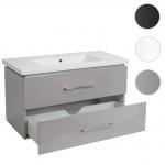 Premium Waschbecken + Unterschrank HWC-D16, 30mm Waschbecken Waschtisch, Schubladen hochglanz 90cm
