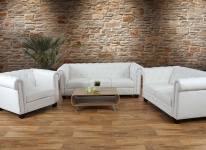 Luxus 3-2-1 Sofagarnitur Chesterfield Kunstleder