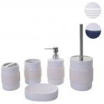 5-teiliges Badset HWC-C73, WC-Garnitur Badezimmerset Badaccessoires, Keramik
