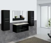 Badezimmerset XL HWC-C11, Waschtisch LED-Wandspiegel 2x Hängeschrank, hochglanz