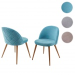 2x Esszimmerstuhl HWC-D53, Stuhl Lehnstuhl Retro 50er Jahre Design, Samt
