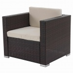 Modulares Poly-Rattan Sofa Rom Basic, Sessel, 75x80x71cm