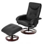 Relaxsessel HWC-C46, Fernsehsessel Sessel mit Hocker, Kunstleder