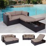 Poly-Rattan-Garnitur Adana, Gartengarnitur Sitzgruppe Lounge-Set, Alu