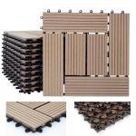 WPC Holz-Fliese Rhone, Bodenfliesen Balkon Terrasse, 11 Stück je 30x30cm = 1qm