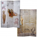 Foto-Paravent Vintage, Raumteiler Trennwand, Glitzer Retro Fashion
