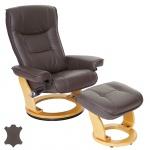MCA Relaxsessel Hamilton, Fernsehsessel Hocker, Echtleder 130kg belastbar