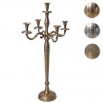 Kerzenleuchter HWC-D81, Kerzenständer Leuchter Kerzenhalter, 5-armig aus Aluminium 80cm massiv 2, 2kg