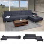 Ecksofa HWC-A97, Sofa Couch Gästebett, Schlaffunktion 298x190cm