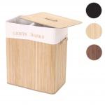 Wäschekorb HWC-C21, Laundry Wäschebox Wäschesammler Wäschebehälter, Bambus 2 Fächer 63x55x34cm 100l