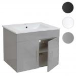 Waschbecken + Unterschrank HWC-D16, Waschbecken Waschtisch, hochglanz 60cm