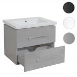 Premium Waschbecken + Unterschrank HWC-D16, 30mm Waschbecken Waschtisch, Schubladen hochglanz 60cm