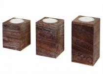 3er Set S+M+L Teelichthalter Leuca, Teelichtständer, Shabby-Look Vintage