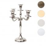 Kerzenleuchter HWC-D81, Kerzenständer Leuchter Kerzenhalter, 5-armig aus Aluminium 31cm massiv 0, 6kg