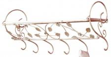 Wandgarderobe H79, Garderobe Kleiderhaken, Blattverzierung, 31x73x24cm