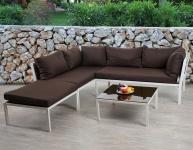 Poly-Rattan Sofa-Garnitur Delphi, Stahl Set 2, Kissen braun